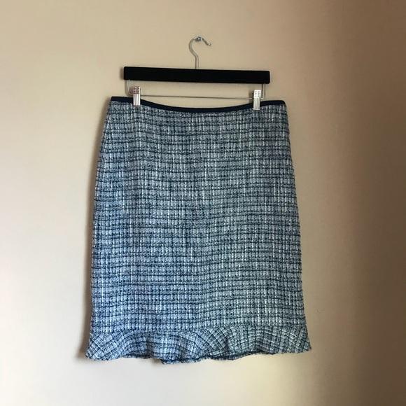 40a35c0faab7b Talbots Ruffle Hem Tweed Skirt - blue